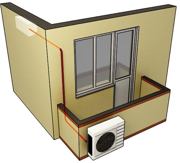 Установка наружного блока кондиционера на застекленном балко.